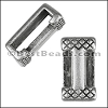 10mm flat CROSSHATCHED ENDS slider ANTIQUE SILVER - per 10 pieces