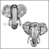 30mm flat ELEPHANT slider ANTIQUE SILVER- per 10 pieces