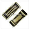 10mm flat LONG LEATHER SETTING slider ANTIQUE BRASS - per 10 pieces