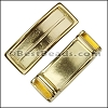 10mm flat LONG LEATHER SETTING slider SHINY GOLD - per 10 pieces