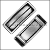 10mm flat LONG LEATHER SETTING slider ANTIQUE SILVER - per 10 pieces