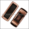 5mm flat SHORT LEATHER SETTING slider ANTIQUE COPPER - per 10 pieces