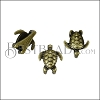 5mm flat SEA TURTLE slider ANT BRASS - per 10 pieces