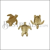 5mm flat SEA TURTLE slider SHINY GOLD - per 10 pieces