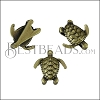 10mm flat SEA TURTLE slider ANT BRASS - per 10 pieces