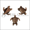 10mm flat SEA TURTLE slider ANT COPPER - per 10 pieces