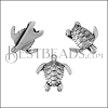 10mm flat SEA TURTLE slider ANT SILVER - per 10 pieces