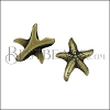 10mm flat SEA STAR slider ANT BRASS - per 10 pieces