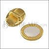 5mm flat OVAL DOTS slider SHINY GOLD with WHITE - 10 pcs