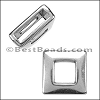 10mm flat SQUARE FRAME slider ANT SILVER - per 10 pieces