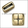 10mm flat SQUARE PILLOW slider ANT BRASS - per 10 pieces