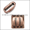10mm flat LACED slider ANT COPPER - per 10 pieces