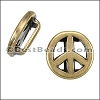 10mm flat PEACE SIGN slider ANT BRASS - 10 pcs