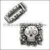 10mm flat SUGAR SKULL slider ANT SILVER - 10 pcs