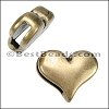 10mm flat PLAIN HEART slider ANT BRASS - per 10 pieces