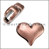10mm flat PLAIN HEART slider ANT COPPER - per 10 pieces
