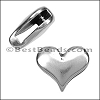 10mm flat PLAIN HEART slider ANT SILVER - per 10 pieces