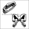 10mm flat RIBBON BOW slider ANT SILVER - per 10 pieces