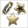 10mm flat REVERSIBLE STAR slider ANT BRASS - per 10 pieces