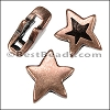 10mm flat REVERSIBLE STAR slider ANT COPPER - per 10 pieces