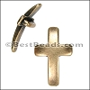 10mm flat CURVED CROSS slider ANT BRASS - per 10 pieces
