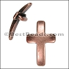 10mm flat CURVED CROSS slider ANT COPPER - per 10 pieces