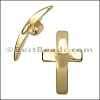 10mm flat CURVED CROSS slider GOLD - per 10 pieces