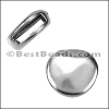 10mm flat PEBBLE slider ANT SILVER - per 10 pieces
