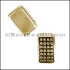 5mm flat SHORT DOT BAR slider ANT BRASS- per 10 pieces