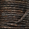 3mm Round Indian Braided Leather NATURAL ESPRESSO - 10 Meter Spool