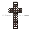 Laser Cut Leather Cross CHOCOLATE BROWN - 10 pcs