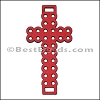 Laser Cut Leather Cross RED - 10 pcs