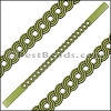 10mm Flat LASER CUT Leather Style 1 OLIVE GREEN - per piece