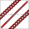 10mm Flat LASER CUT Leather Style 1 RED - per piece