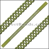 10mm Flat LASER CUT Leather Style 5 OLIVE GREEN - per piece