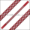 10mm Flat LASER CUT Leather Style 5 RED - per piece