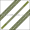 10mm Flat LASER CUT Leather Style 6 OLIVE GREEN - per piece