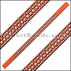 10mm Flat LASER CUT Leather Style 6 RUST - per piece