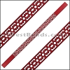 10mm Flat LASER CUT Leather Style 6 RED - per piece
