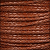 3mm Round Mediterranean BRAIDED Leather MAHOGANY- per METER