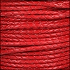 3mm Round Mediterranean BRAIDED Leather RED - per 10 METERS