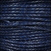 3mm Round Mediterranean BRAIDED Leather ELECTRIC BLUE - per 10 METERS