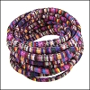 6mm round Multi Cotton Cord PURPLE STRIPE - 5m SPOOL