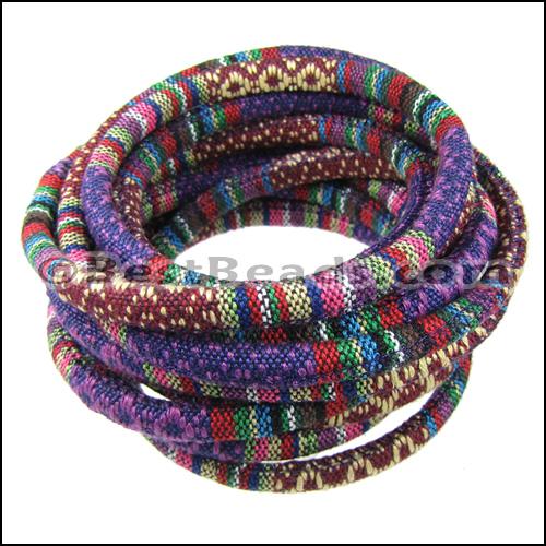 6mm Round Multi Cotton Cord Purple Per 5 Meters