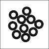 7.25mm rubber o - rings 10 pcs BLACK