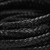 MINI Regaliz® Braided Leather BLACK - 1 meter