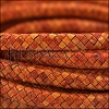MINI Regaliz® Braided Leather NATURAL ORANGE - 1 meter