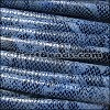 MINI Regaliz® Leather Oval FAUX SNAKE DESIGN  DENIM/BLACK - per 1 meter