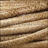 MINI Regaliz® Leather Oval FAUX SNAKE DESIGN  BEIGE - per 1 meter