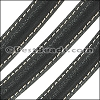 MINI Regaliz® Leather Oval SPARKLE STITCHED BLACK - per 1 meter